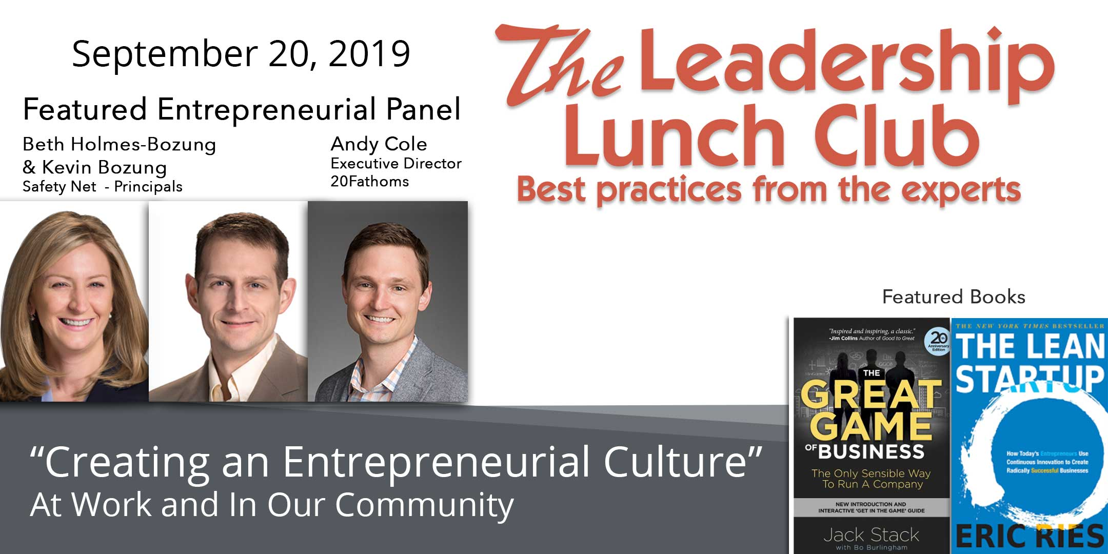 Read more about the article Sept 20 – Creating an Entrepreneurial Culture-At Work and In Our Community